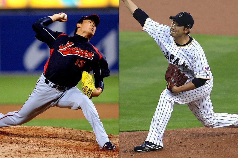 菅野智之(右)與田中將大(左)本季開打前都簽下天價合約,但至今表現都不如預期。 歐新社資料照片