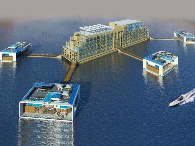Sea Palace 由6間海上玻璃度假別墅包圍其中心的主要酒店,所有房屋之間都...