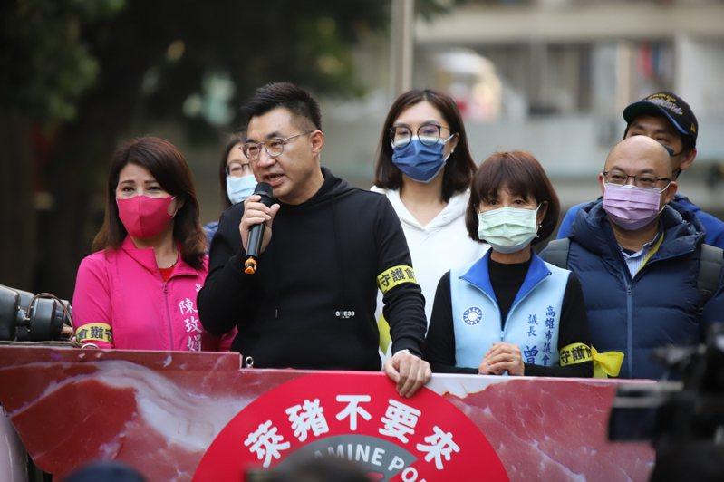國民黨主席江啟臣南下高雄宣傳反萊豬公投連署。圖/國民黨高雄市黨部提供