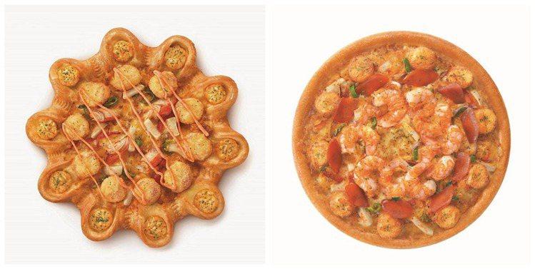 必勝客推出3珍海味團圓比薩、極品烏魚子干貝燒比薩。圖/必勝客提供