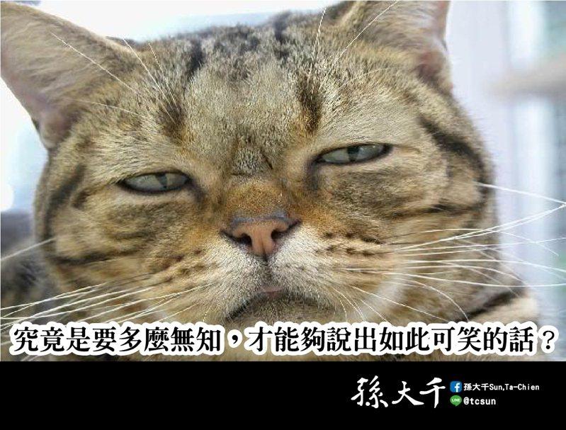 前立委孫大千在臉書批評立法院長游錫堃,一個人究竟是要多無知,才能夠說出如此可笑的話?圖/取自孫大千臉書