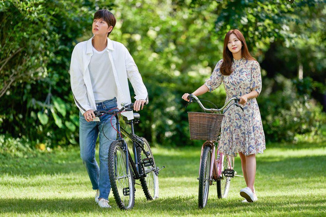 朴海鎮(左)與趙寶兒合作「愛的芬多精」。圖/緯來戲劇台提供