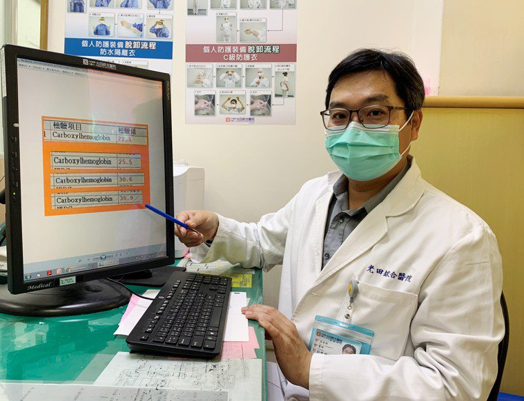 光田綜合醫院急診部醫師彭楷瑜,及時檢驗發現女子一家四4口都一氧化碳中毒。記者游振...