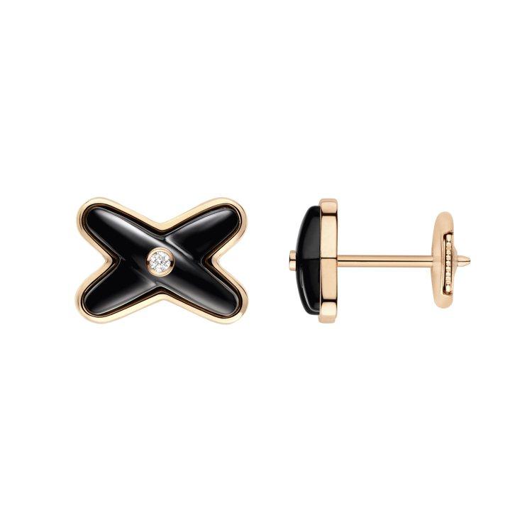 Jeux de Liens 18K玫瑰金縞瑪瑙鑽石耳環,單只33,200元。圖/...