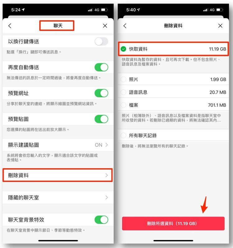 iOS版刪除快取位於LINE設定→聊天→刪除資料→快取資料。圖/摘自LINE台灣...