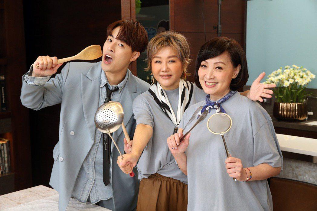 朱宇謀(左起)上藍心湄、寶媽主持的「藍嬌雙寶」PK廚藝。記者邱德祥/攝影