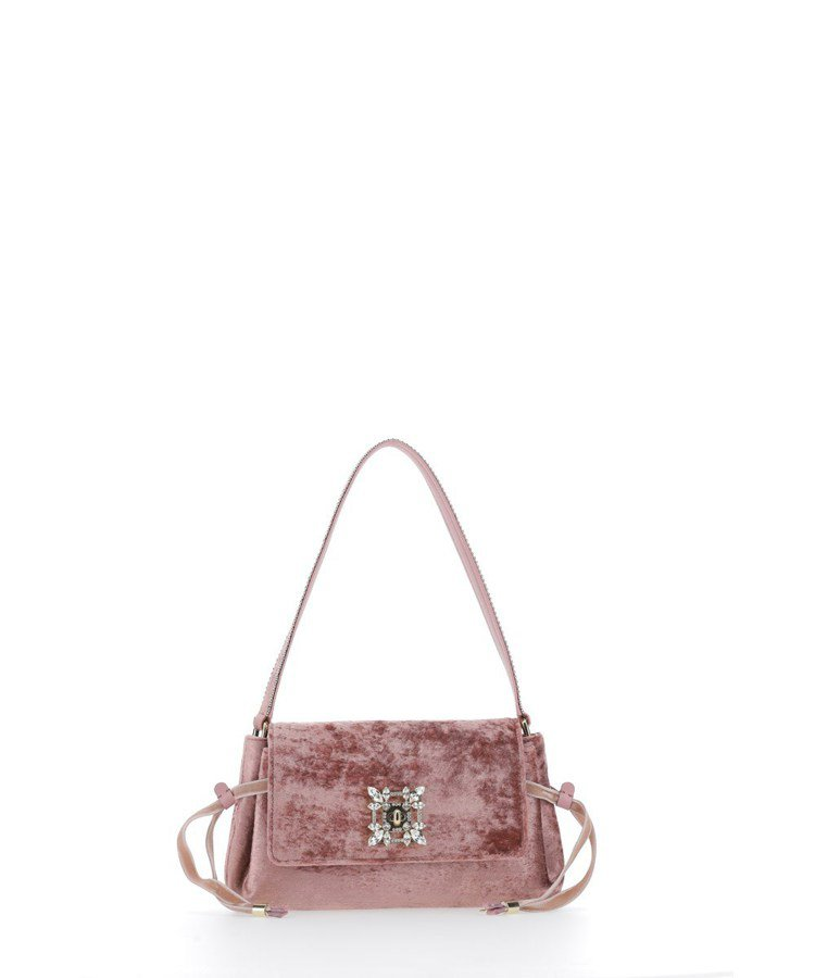 Miss Vivier粉色絲絨鑽釦肩背包,79,900元。圖/Roger Viv...