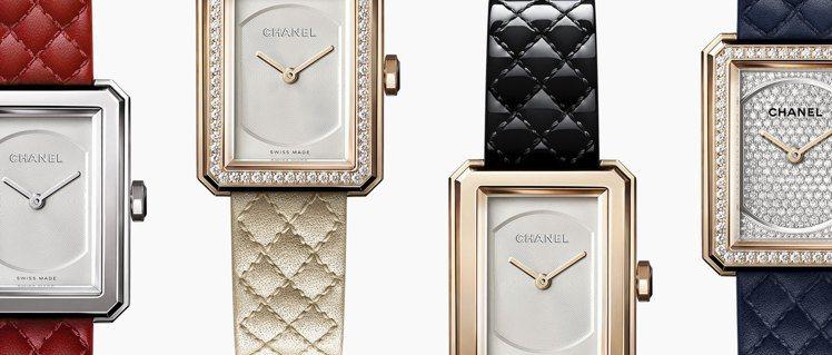 香奈兒BOY∙FRIEND腕表搭載可替換式表帶設計,備有多色菱格紋圖騰小牛皮表帶...