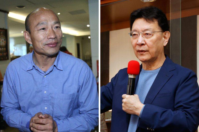 趙少康(右)重回國民黨,他提到韓國瑜曾力勸自己參選黨主席。聯合報系資料照