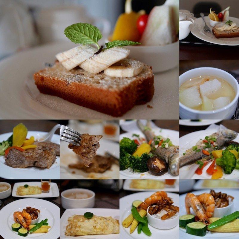女主人精心料理搭配的下午茶點和早、晚餐 無菜單的健康料裡,食材來源都是三峽本地當季農產品 (喜歡阿桂的家的另一個原因,美食的多樣豐富,也 少油少鹽 )