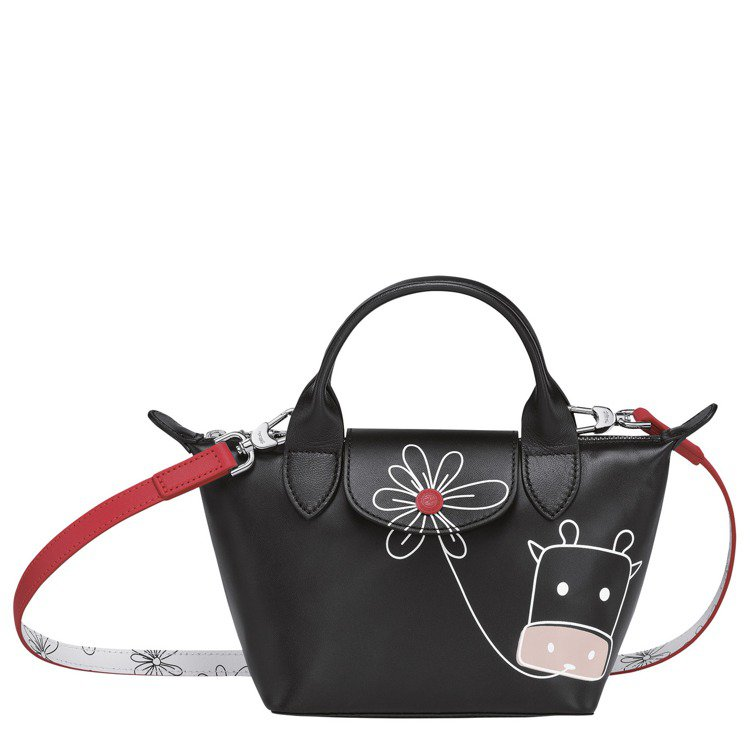 LONGCHAMP牛年限量Le Pliage黑色迷你手提包,17,400元。圖/...
