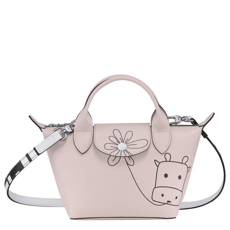 LONGCHAMP牛年限量Le Pliage淡粉色迷你手提包,17,400元。圖...