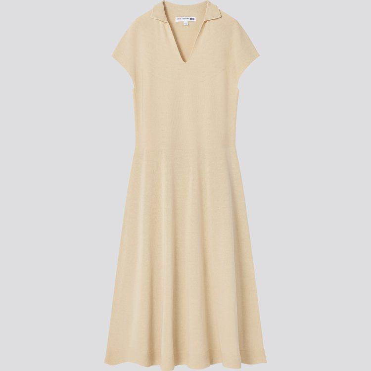 INES DE LA FRESSANGE聯名系列3D織法開領洋裝1,490元。圖...