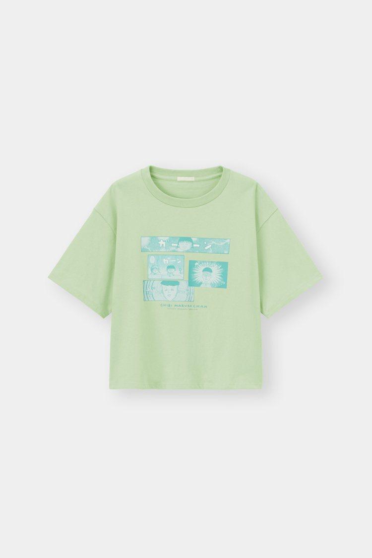 GU櫻桃小丸子系列女裝印花T恤390元。圖/GU提供