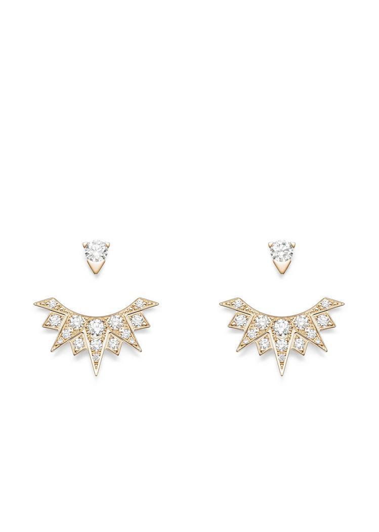 伯爵(PIAGET),Sunlight系列18K玫瑰金鑲鑽耳環,以放射狀的鑽石鑲...