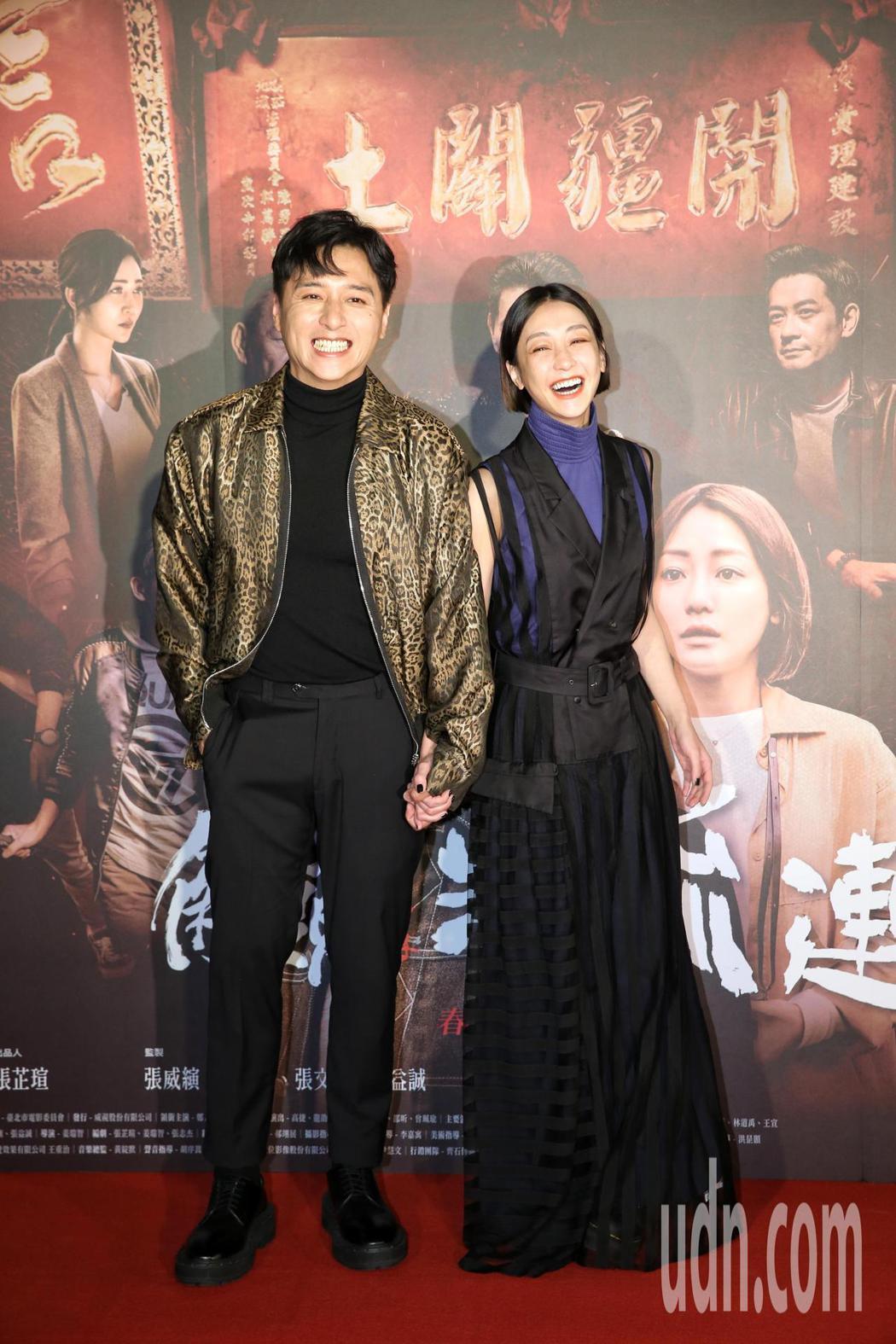 演員鄭人碩(左)、謝欣穎(右)出席,首映典禮上現場星光閃閃。 記者邱德祥/攝影