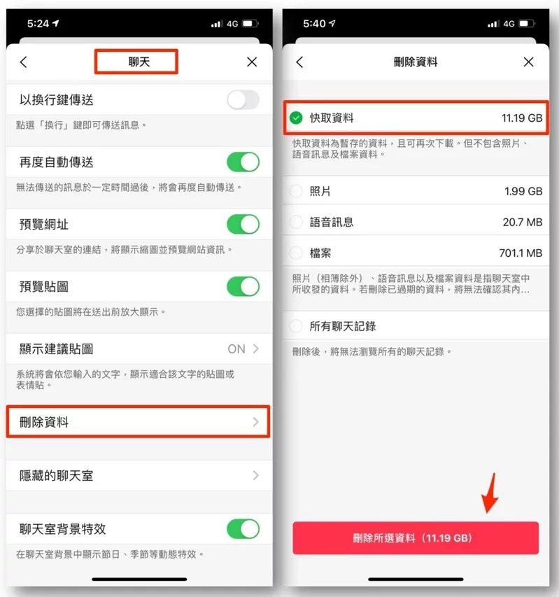 iOS版刪除快取位於LINE設定→聊天→刪除資料→快取資料。  圖/摘自LIN...