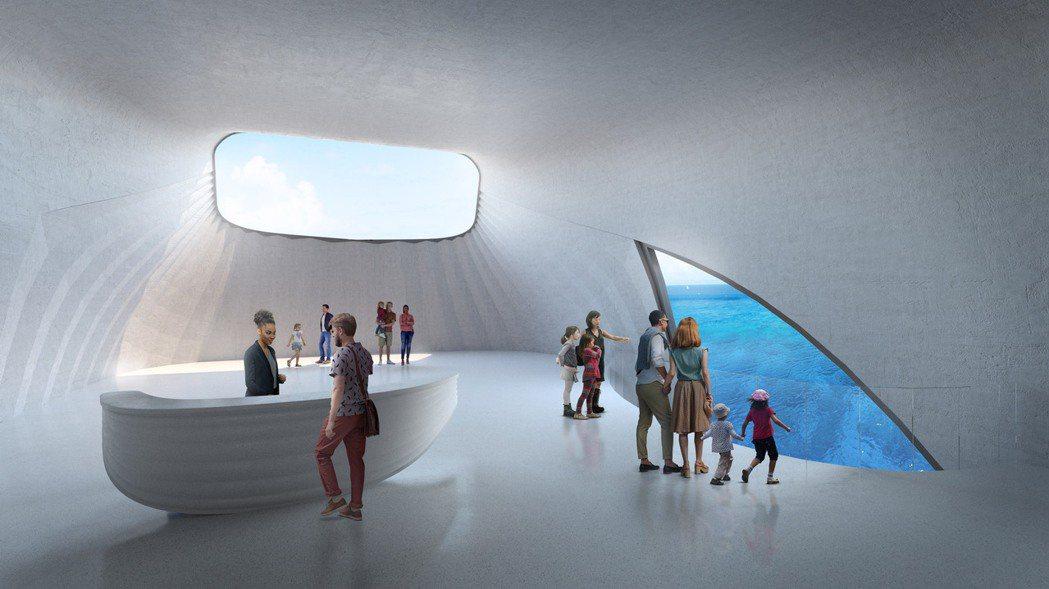 將於2022年完工的澳洲海洋探索中心,部分建物位於海底下。圖/Baca Arch...