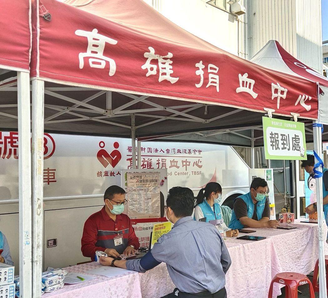 廠區員工熱情響應捐血活動。 楊鎮州/攝影
