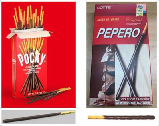圖二、Pocky和樂天Pepero的產品相似度 (圖片來源:Ezaki Glico Kabushiki Kaisha v. Lotte International America Corp. 977 F.3d 261, 264(3th Cir, 2020).)