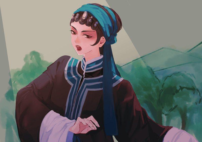 歌仔戲王寶釧形象(提供:台灣服飾誌)