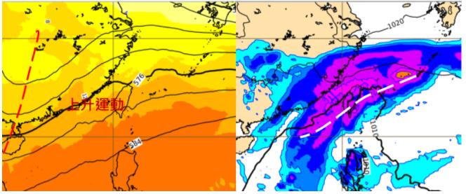 歐洲中期預報中心模式模擬10日20時500百帕高空圖顯示,高空槽(紅虛線)提供台灣附近的上升運動(左圖)。同時的模擬地面圖則顯示,鋒面(白虛線)在台灣附近醞釀,伴隨明顯降雨(右圖)。圖/取自「三立準氣象.老大洩天機」