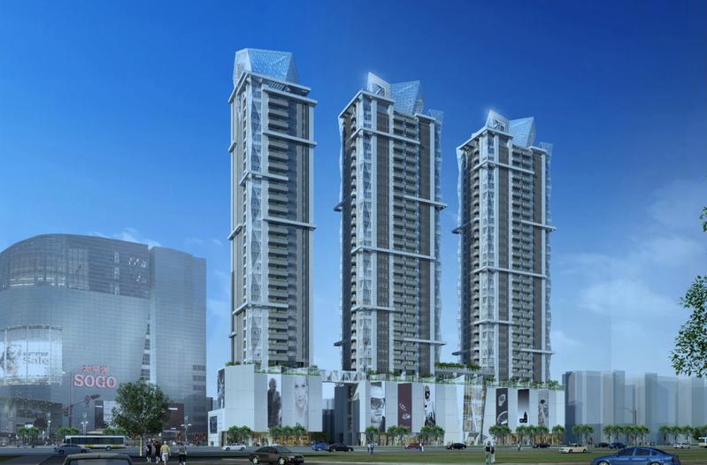 正義國宅都更案「Diamond Towers」完工示意圖。圖/摘自戴德梁行