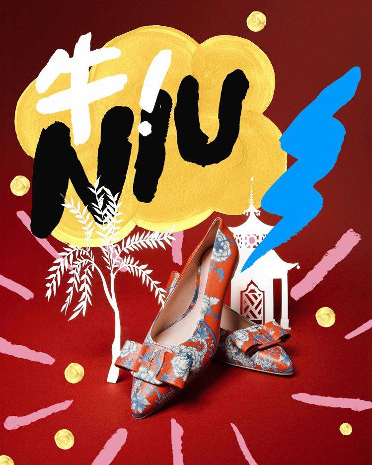 農曆新年限定Viva尖頭平底鞋,25,900元。圖/Salvatore Ferr...