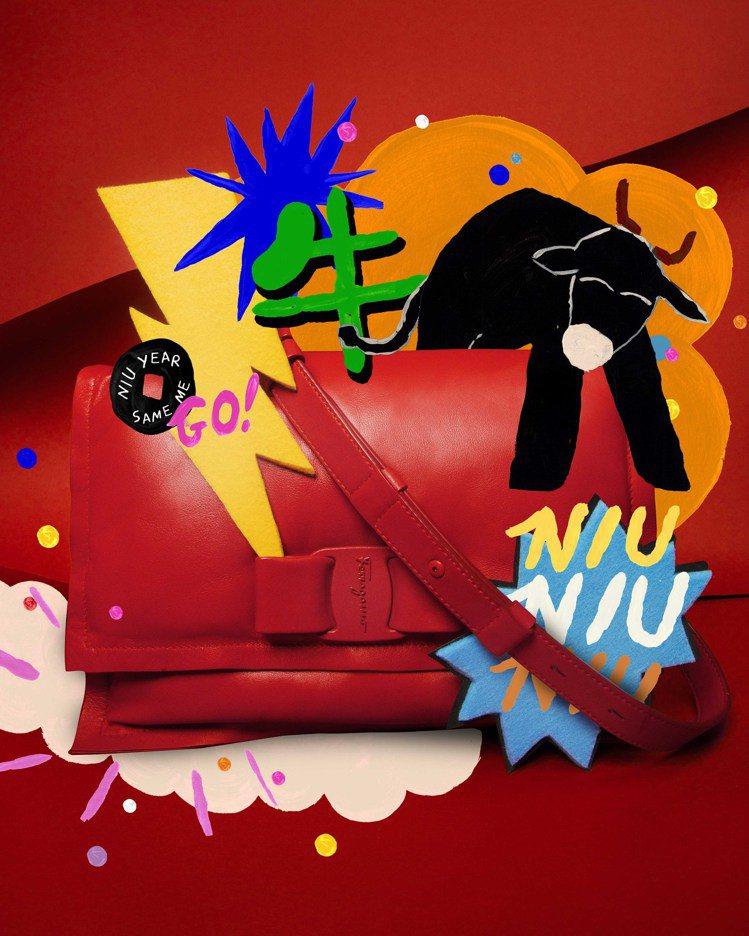 Viva紅色牛皮肩背包,46,900元。圖/Salvatore Ferragam...