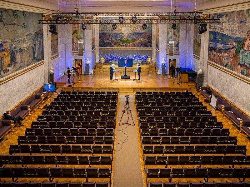 因疫情影響,2020年諾貝爾和平獎採遠距方式舉行,現場無觀禮民眾。法新社