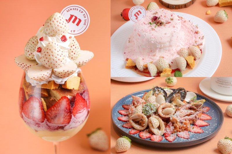 Meat Up即將於2月中旬推出白草莓季,而紅點白肉的白草莓不僅視覺吸睛,甜度也比一般草莓來的高,讓甜點風味更佳。圖/Meat Up提供