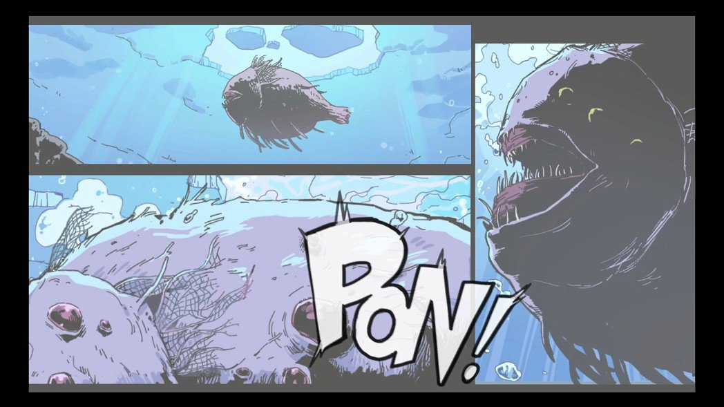 中間的過場動畫很有美式漫畫的風格。