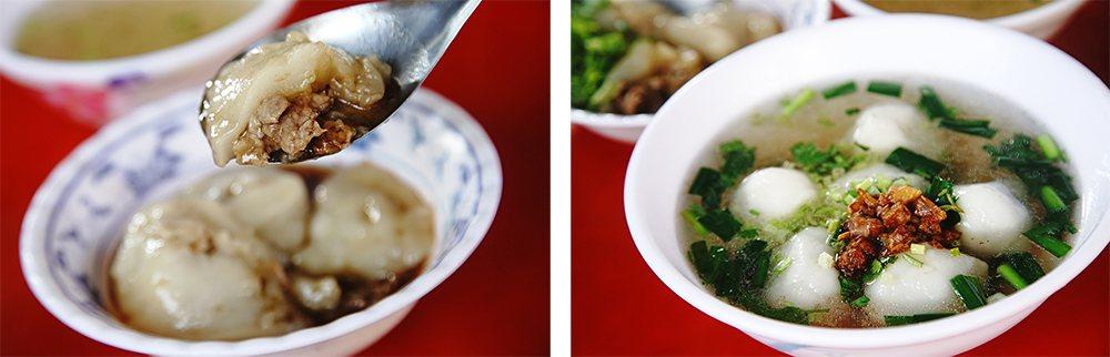 大社三角窗肉圓淋上特製醬油滷汁,是在地人從小吃到大的老味道。鹹湯圓加上自製的油蔥...