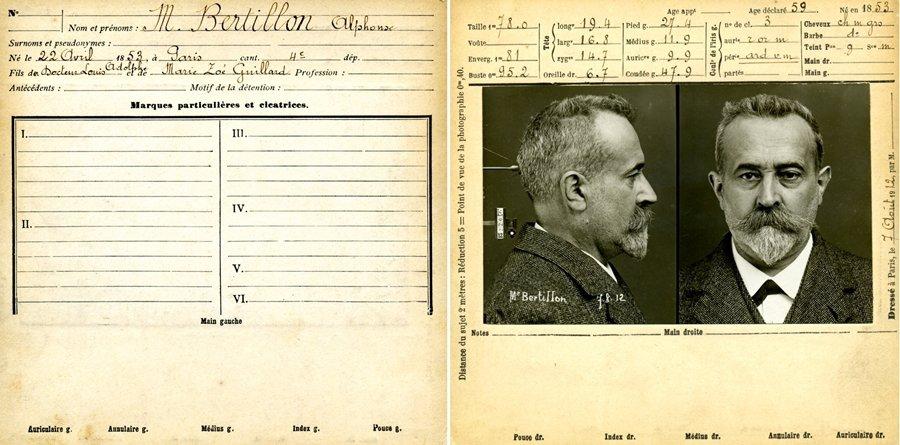 1880年代,於巴黎警察局任職的阿爾楓斯・貝赫提隆開發出一套廣為各國所採用、紀錄犯罪者的記錄系統。 圖/維基共享