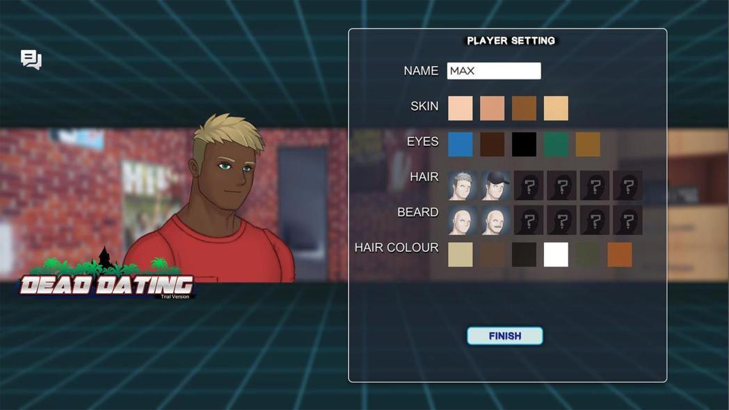 玩家能自訂角色外觀與名字(試玩版選擇有限)