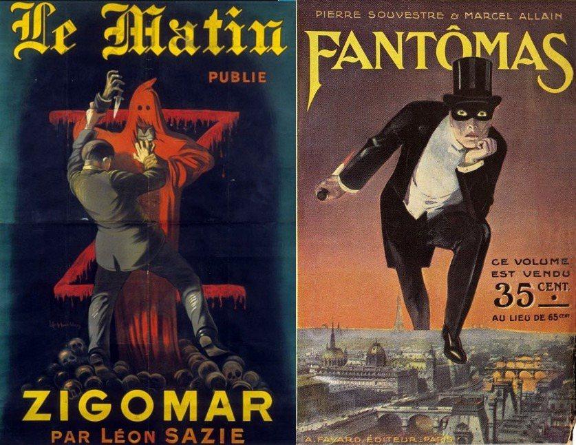 左:1909年到1911年連載的吉格瑪;右:1911年到1912年連載的芳湯瑪。 圖/維基共享