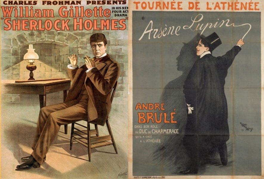 左:1916年福爾摩斯電影海報;右:1905年初登場的亞森羅蘋。 圖/維基共享