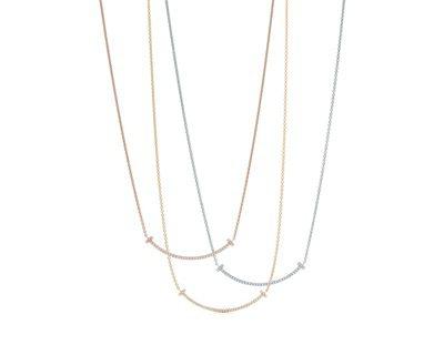 Tiffany T Smile 鑲鑽項鍊小型款,71,000元。圖/Tiffan...