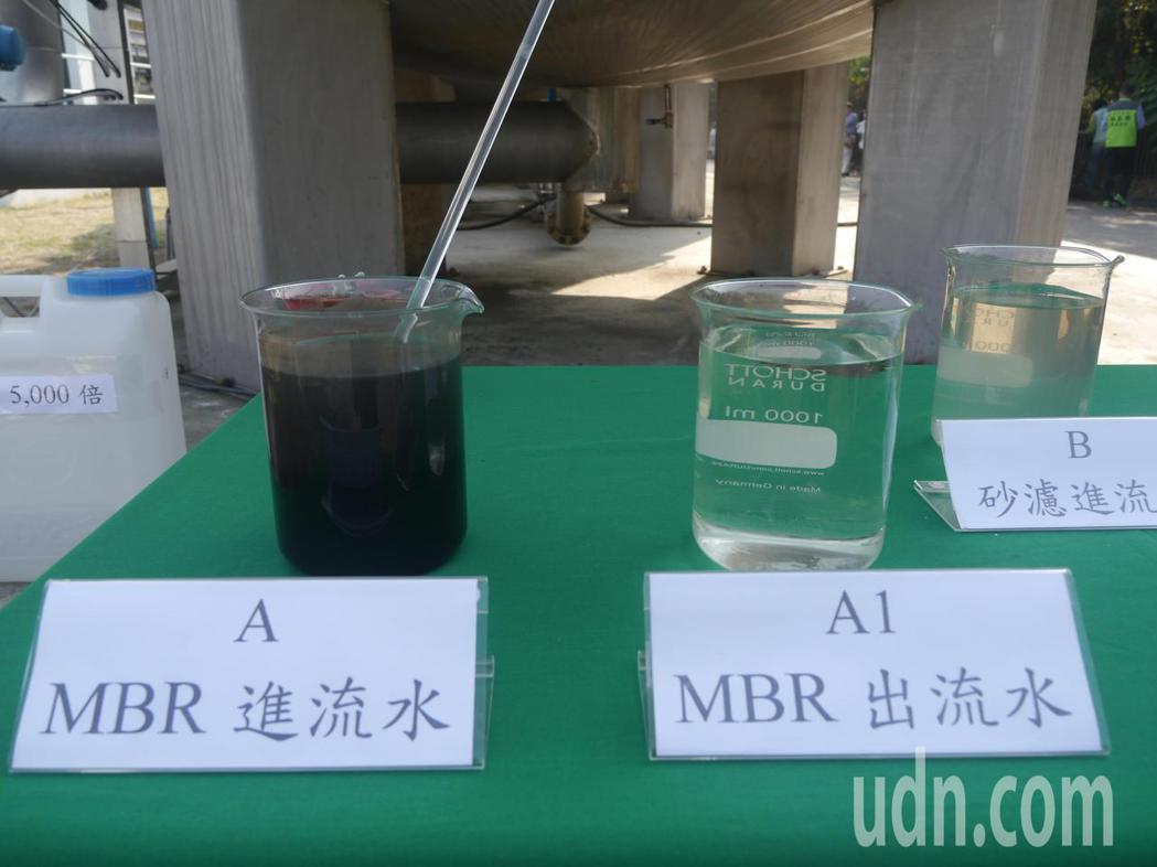 大發工業區汙水處理廠擴(整)建工程完工運轉,左邊是工廠廢水,右邊濾杯則為經過處理...