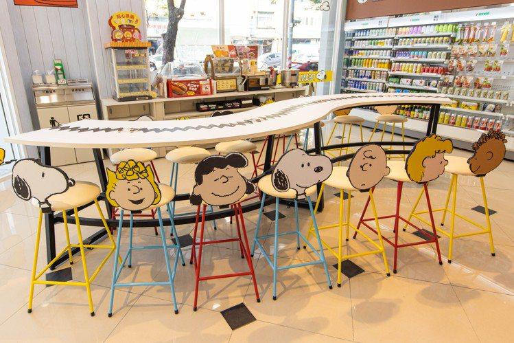 高雄「7-ELEVEN X SNOOPY史努比主題店」休憩區椅背設計為史努比與好...