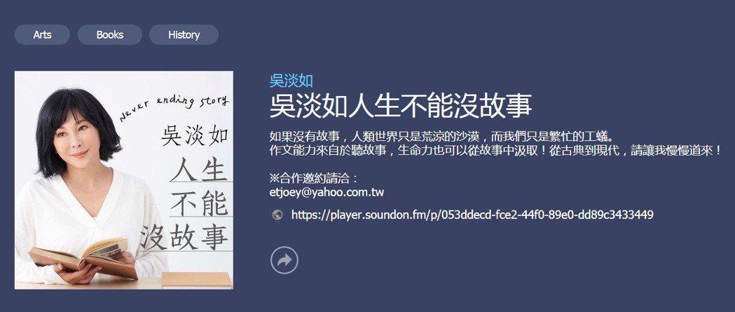 吳淡如的podcast節目大受歡迎。圖/梯梯文創提供