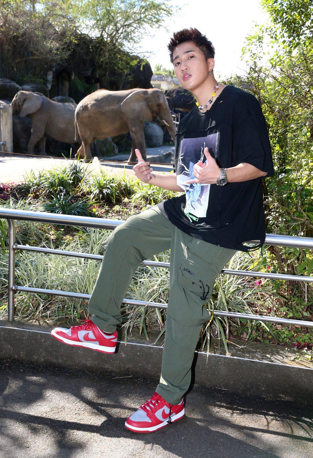 婁峻碩春節期間逛動物園。記者胡經周/攝影