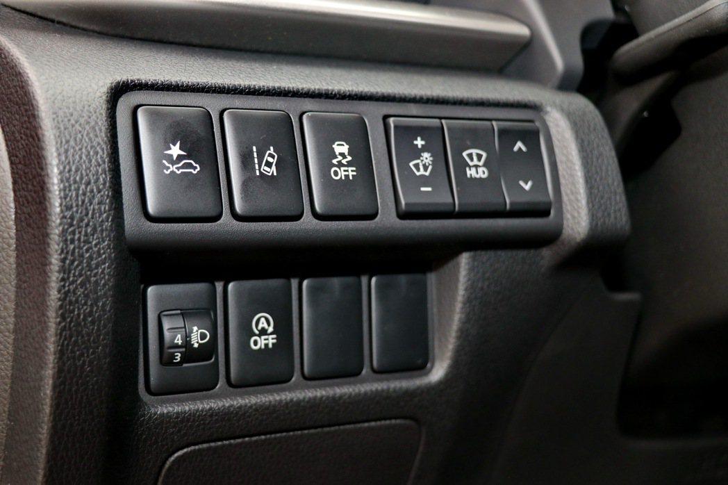 方向盤左側則是主動安全科技及HUD抬頭顯示器的控制鍵。 記者陳威任/攝影