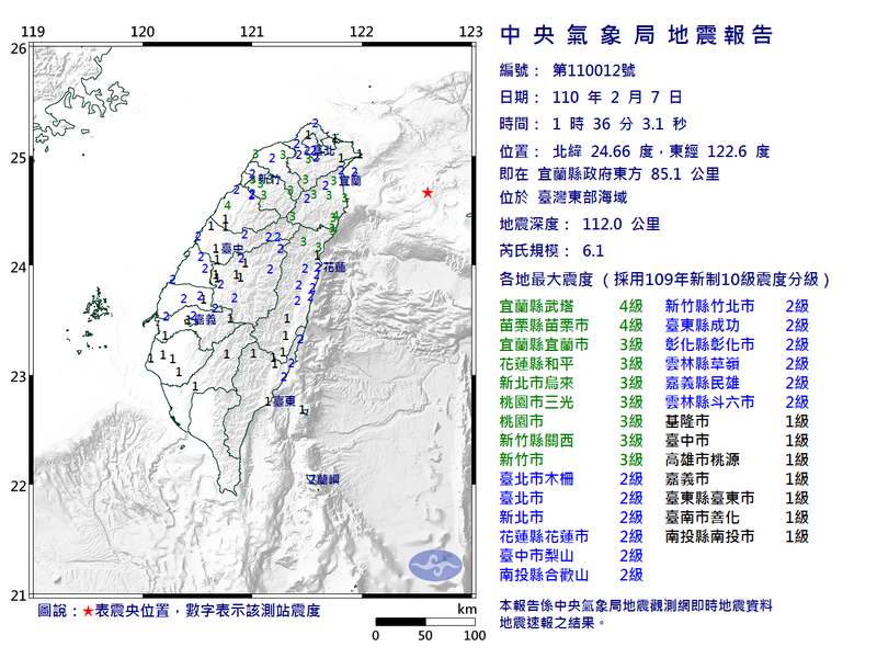 今天凌晨1點36分地震,苗栗地區最大震度達4級。圖/苗栗縣政府消防局提供