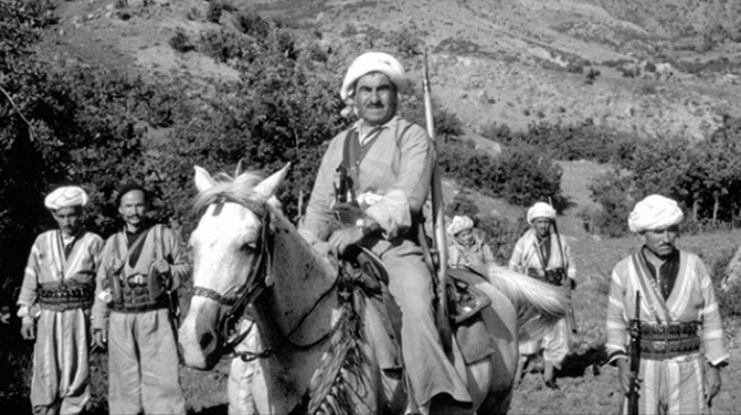 伊拉克-庫德戰爭中的庫德起義軍領導人穆斯塔法.巴爾札尼。在第二次庫得戰爭中,老巴...