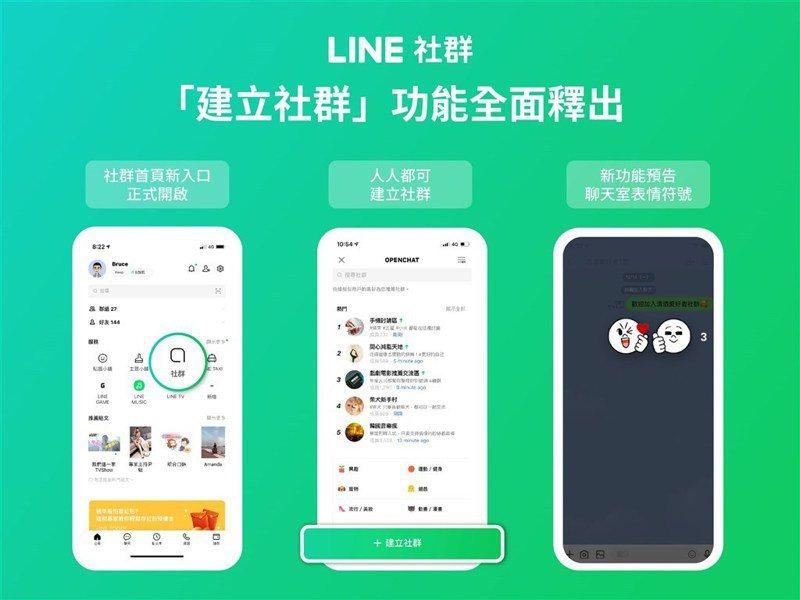 通訊軟體LINE 8日宣布網路聊天室「LINE社群」已全面釋出「建立社群」功能。圖/取自LINE官方網頁