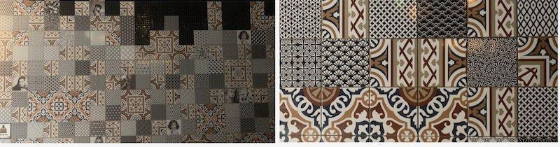 地面藝術風格磁磚拼貼的圖案,有時也用在牆面,不一樣的美學設計。