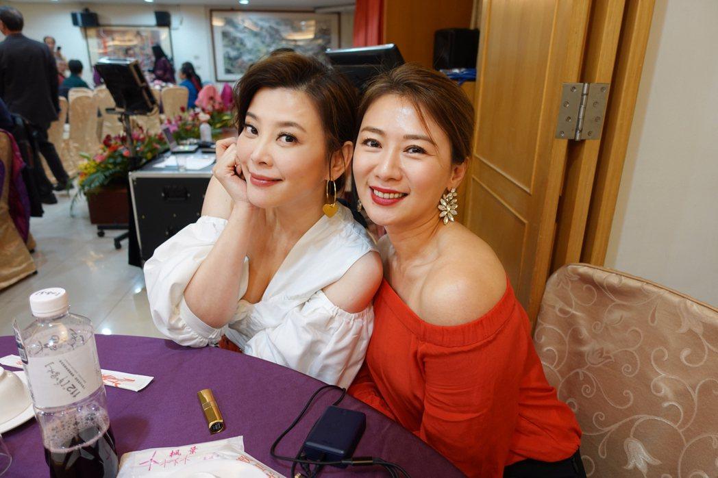方馨(左)與連靜雯共同參與壽宴活動。圖/楠軒工作室
