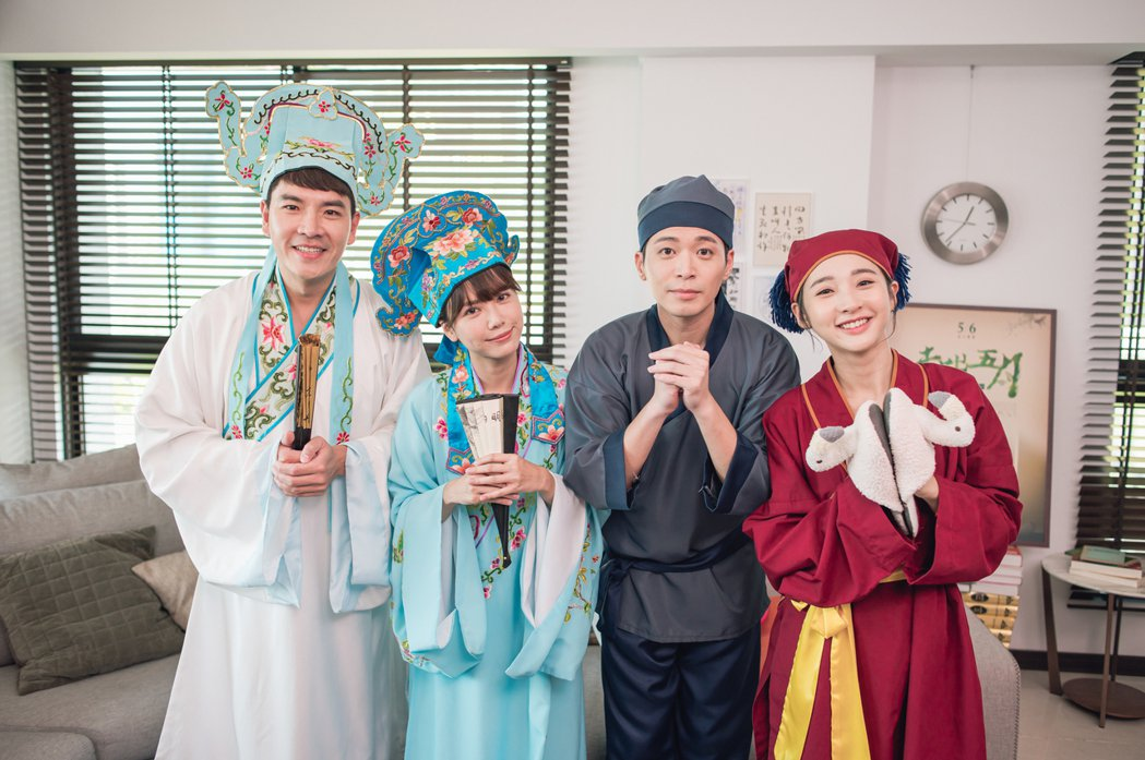 王傳一(左起)、方語昕、侯彥西、李沐穿上古裝唱Rock版「樓臺會」。圖/緯來電影...