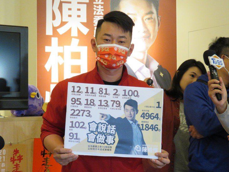 立法委員陳柏惟聽說有人批評他的服務處有的是關著的,立即拿出圖板強調他的5個服務處每周一至周五都是開著的。記者黃寅/攝影